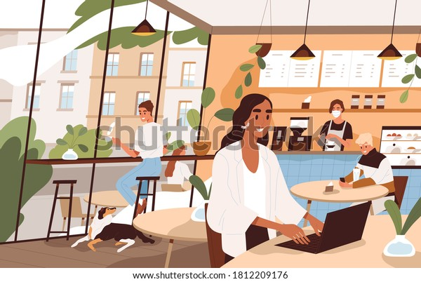 People sit at tables and drink beverages at city cafe. Freelancer working at laptop. Scene of social distance at modern coffeehouse. Flat vector cartoon illustration of coffee shop cozy interior