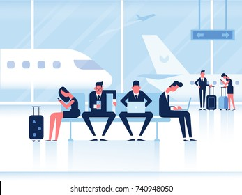 People sitting in airport terminal. Infographics elements. Business travel concept. Flat vector illustration.