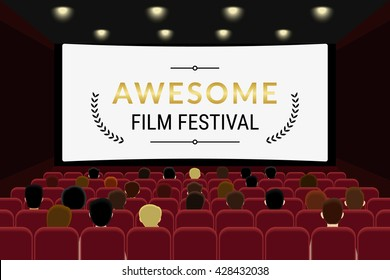 People sitting in the cinema hall and watching film in the cinema. Flat illustration of film festival template design with copy space on the cinema screen