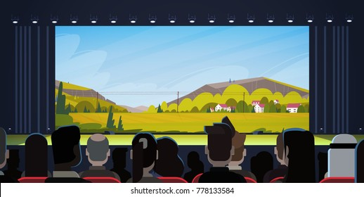 People Sitting In Cinema Watching Movie Back Rear View Flat Vector Illustration