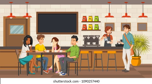People sitting in a coffee shop. Cafe with friends on tables.