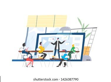 People sitting at desks in front of lecturer or speaker displaying on screen of giant laptop. Webinar, webcast, web conference, online course, internet education. Modern flat vector illustration.
