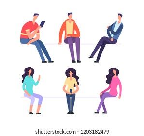 People sitting. Girl and boy sit on chairs. Cartoon vector characters set. Woman and man sit and wait illustration