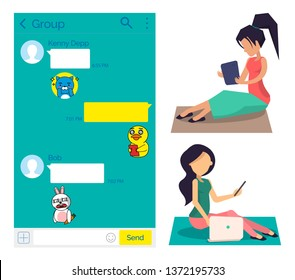 People sitting with laptops and tables vector, woman chatting in kakao talk. Users chatting and communicating online, social media, stickers and emojis