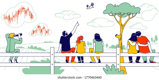 People Sitting on Fence Rear View. Happy Family Mother, Father and Daughter Looking on Bird, Loving Couple Embracing, Businessman Character Look in Binoculars on Stock Data. Linear Vector Illustration