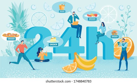 People Sitting on Number Ordering Food for Dinner or Lunch. Man and Woman Talking on Mobile Phone Wishing Pizza, Cake, Asian Noodle, Meat and French Fries, Hamburger Flat Cartoon Vector Illustration.