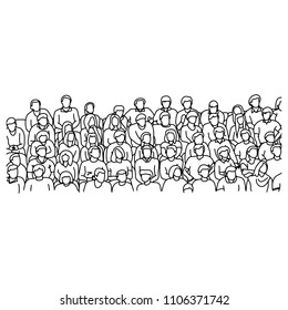 people sitting on stadium to cheer sport vector illustration sketch doodle hand drawn with black lines isolated on white background