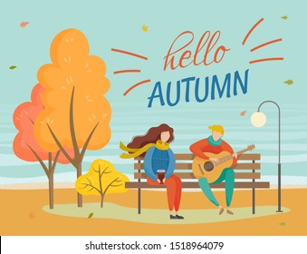 People sitting on wooden bench in park, hello autumn. Couple on date, man playing music on guitar, girl holding coffee cup in hands. Trees with orange leaves at lawn, fall weather, vector illustration