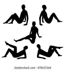 People sitting positions black silhouettes