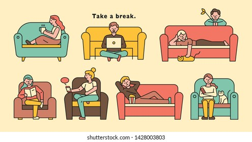 People sitting and resting on the sofa in various positions. flat design style minimal vector illustration
