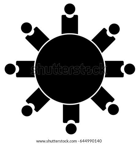 People Sitting Round Table Conference Icon Stock Vektorgrafik