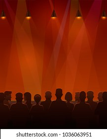 People sitting at the stage. Vector illustration of silhouettes of audience sitting at the stage.