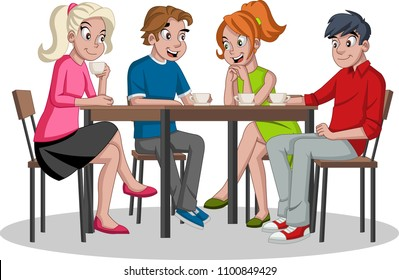 People sitting at table drinking coffee. Cafe with friends.