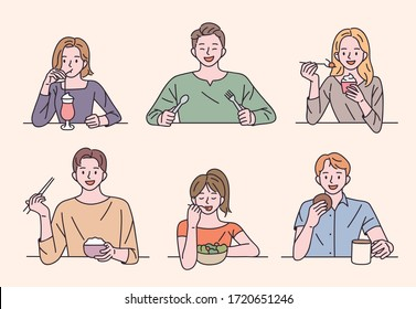 People are sitting at the table and eating a variety of foods. flat design style minimal vector illustration.
