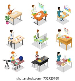 People sitting at table in office or in classroom isometric 3D set. Working with documents or on computer, science research, teacher teaching, student doing homework in audience vector illustration.
