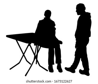 People are sitting at tables in a street cafe. Isolated silhouettes on a white background