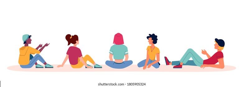 People sitting and talking icons, discuss or conversation with backs or view from behind, vector flat isolated. Group of people men and women, sit or lie on ground looking or watching and talking