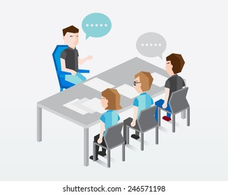People Sitting and Talking Vector Illustration