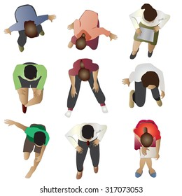 People sitting top view, set 3, vector illustration