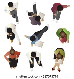 People sitting top view, set 4, vector illustration