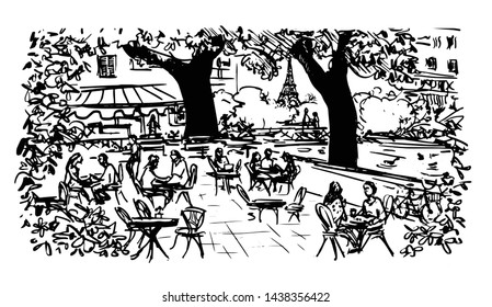 People sitting at traditional outdoor Parisian cafe, Eiffel tower in background, hand drawn sketch illustration