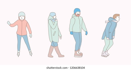 People skate at ice rink in park in the winter. Men, woman, couple. hand drawn style vector doodle design illustrations on white background.