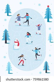 People skating on ice rink in winter season. Flat style vector illustration.