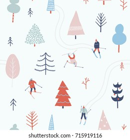 People skiing in the winter snowing forest on Christmas seamless pattern in vector