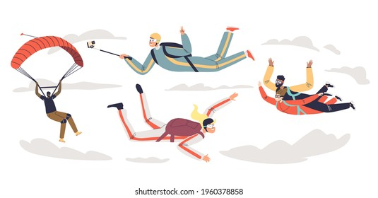 People skydiving with parachute. Group of professional parachutists paragliding. Skydivers team parachuting in free fall. Cartoon flat vector illustration
