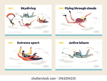 People skydiving with parachutes template landing pages set. Parachutists diving in sky. Professional paragliders paragliding. Cartoon flat vector illustration