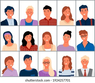 People smiling vector, cheerful person portrait of man and woman different males nd females wearing clothes, adults and senior businessman in suit