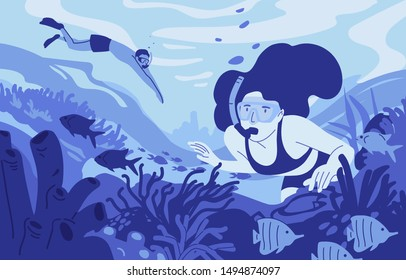 People snorkeling flat vector illustration. Diving summer recreational activity. Water sport, extreme hobby. Man and woman cartoon characters in masks equipment. Professional underwater scuba divers.