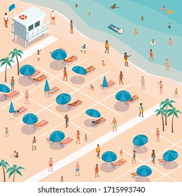 People social distancing at the beach during coronavirus covid-19 outbreak, prevention and safety measures concept, isometric illustration
