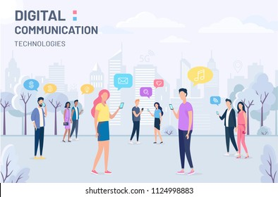 People and social media digital technology vector illustration