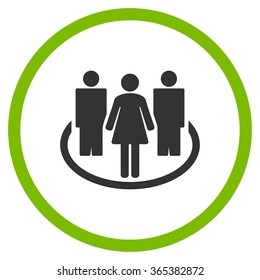 People Society vector icon. Style is bicolor flat circled symbol, eco green and gray colors, rounded angles, white background.