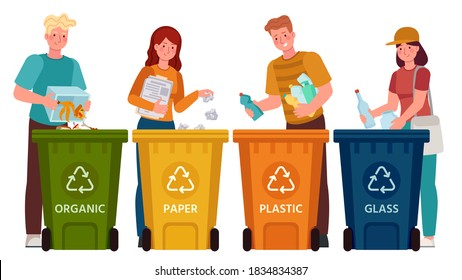 People sorting garbage. Men and women separate waste and throwing trash into recycling bins. Ecology lifestyle vector illustration. Waste and garbage, throwing rubbish, environmental segregation