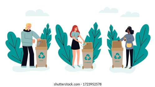 People sorting trash in dumpsters and containers, sketch vector illustration isolated on white background. Garbage collection and recycling for green environment.
