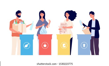 People sorting trash. Recyclable garbage in different containers. Recycling eco vector concept