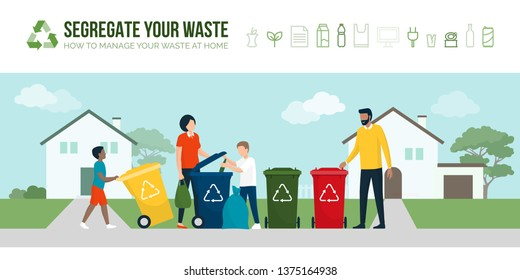 People sorting waste and recycling together, they are throwing each type of trash in different garbage bins: sustainable lifestyle and environmental care concept
