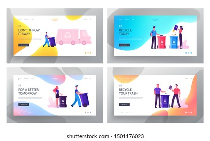 People Sorting Waste Website Landing Page Set. Characters Throw Bags with Garbage to Litter Bins for Separating Metal, Glass, E-waste and Organic Trash Web Page Banner. Flat Vector Illustration