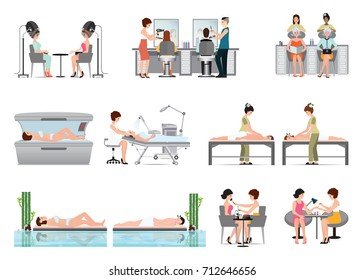 People in spa beauty salon and various beauty procedures isolated on white background, vector illustration.