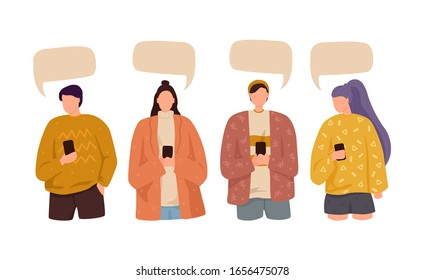 People speak and chatting. Communication with person. Dialogue speech bubbles. Isolated flat vector illustration.