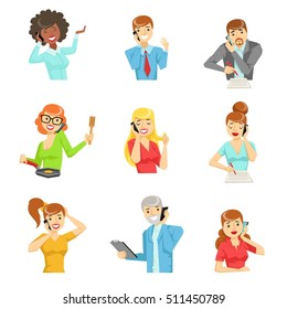 People Speaking On The Phone Set Of Illustrations