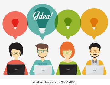 people with speech bubbles and laptop,social network, idea, teamwork, banner and infographic  concept