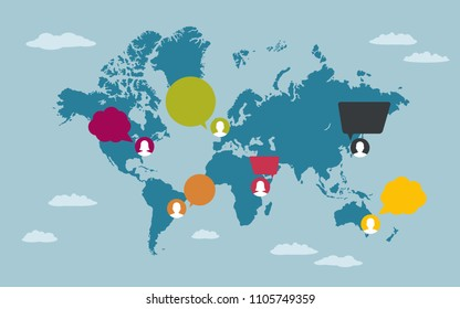 People with speech bubbles on World map. Global communication concept.