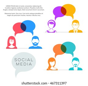 People with speech bubbles social media concept