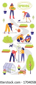 People spend time in a garden. Men and women plant seedlings . A woman carries a seedling box. A man pushes a garden wheelbarrow . Vertical Color vector illustration.