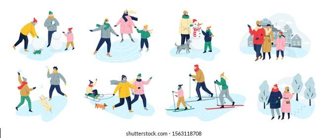 Les gens passent du temps en plein air en hiver. Des gens en vêtements chauds qui font des activités hivernales. Activités hivernales en famille. La saison froide, patiner sur la patinoire et faire un bonhomme de neige, le ski. Illustration vectorielle à plat
