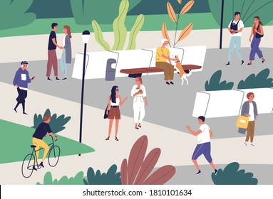 People spend time at public place with baby and dogs. Family couple walking, elderly man playing with pet. Flat vector cartoon illustration of summer recreation in city park with bench and bushes