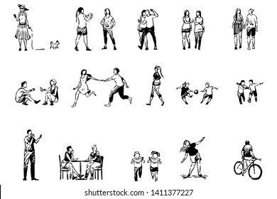 People spend time together, friends and couples, children eat watermelon, skating, cycling, summertime activities set. Summer season leisure, pastime concept sketch. Hand drawn vector illustration